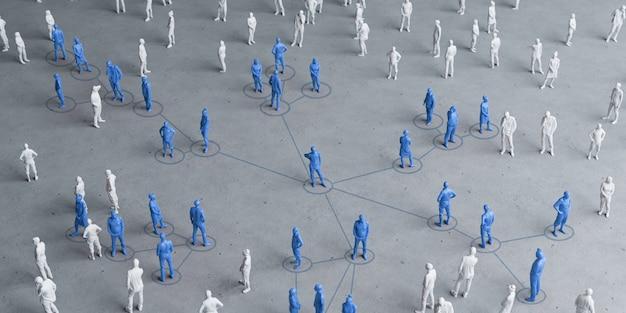 Miniature people social distancing concept to avoid coronavirus.