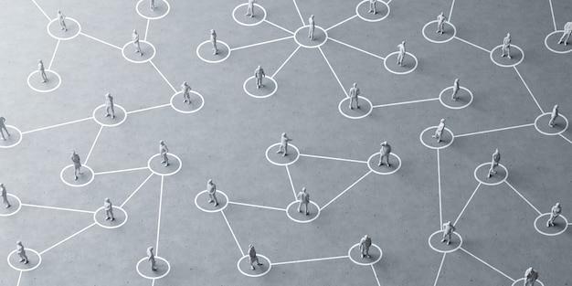 Концепция социального дистанцирования миниатюрных людей, чтобы избежать коронавируса.