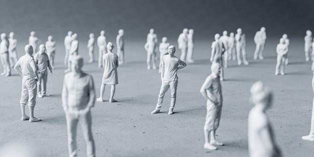 코로나 바이러스를 피하기 위해 미니어처 사람들이 사회적 거리를 두는 개념.