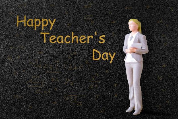 칠판 앞의 미니어처 사람들 교사, 세계 교사의 날 개념