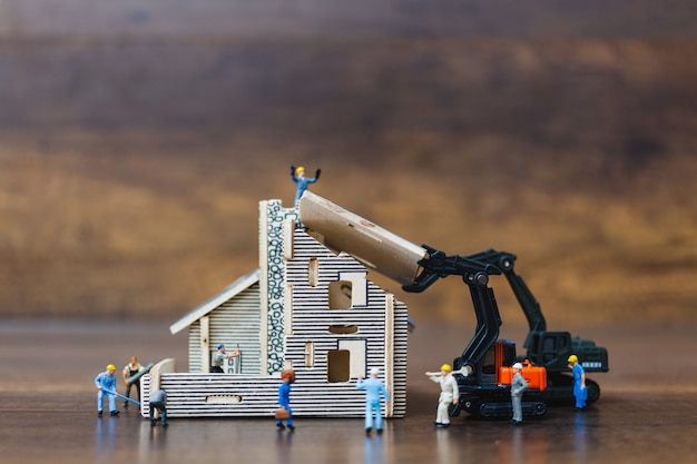 Miniature people : worker team for building home