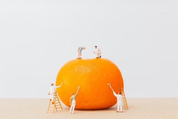 Miniature people: workers are painting color on orange peels