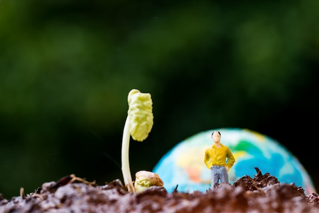Miniature people yellow suit standing near young plants seeding growing on fertile soil with blur globe model for agriculture in garden. agriculture for learning and save green world concept.