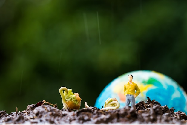 Miniature people yellow suit standing near young plants seeding growing on fertile soil with blur globe model for agriculture in garden. agriculture for learning and save green world concept