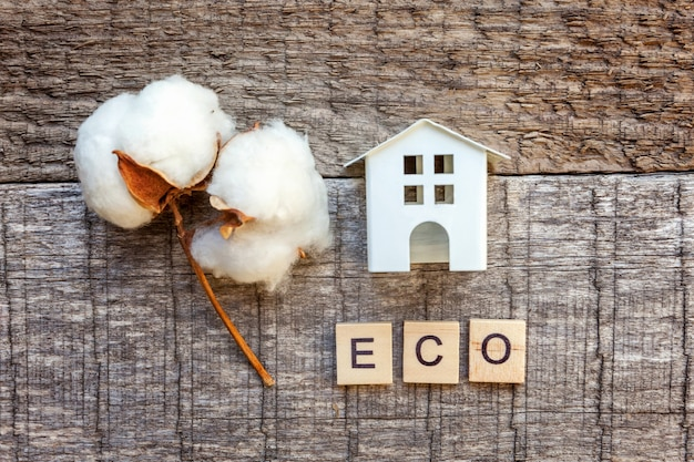 Miniature toy model house with inscription eco letters word on wooden table