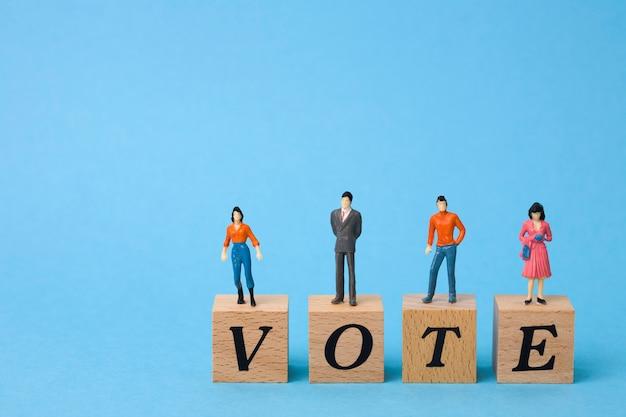 Миниатюрные избиратели на деревянных кубиках со словом голосование