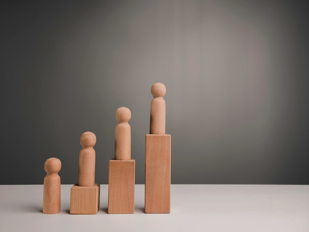 The miniature wooden figures standing on wood block steps as growth graph chart with copy space, minimal style. leadership, influencer, empowerment and increase people concept.