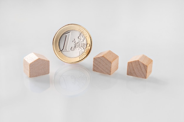 Миниатюрные деревянные домики и монета евро