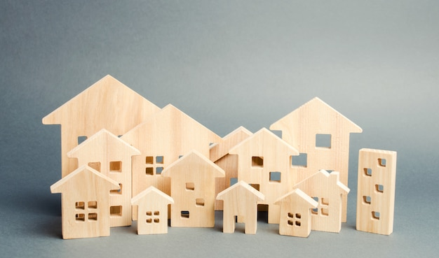 Miniature wooden houses. real estate.
