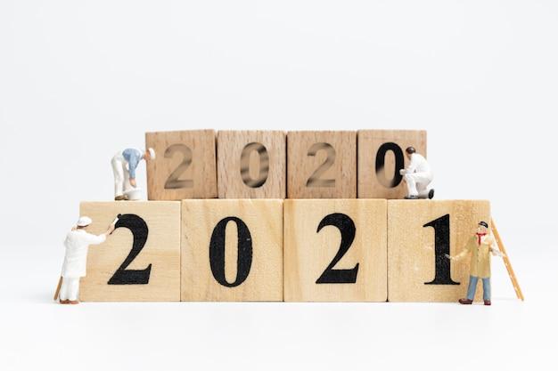Miniature worker team painted number 2021