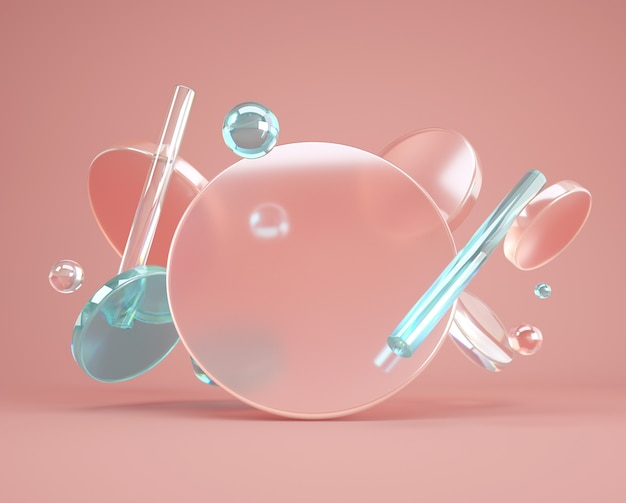 Minimal 3d background with glass flying cylinders, tubes and transparent square shapes. beautiful geometry composition for promotion, product design with empty space.