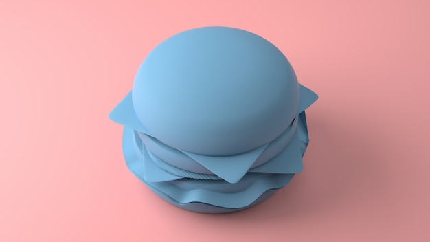 Minimal 3d blue cheeseburger on a pastel pink background. 3d rendering.