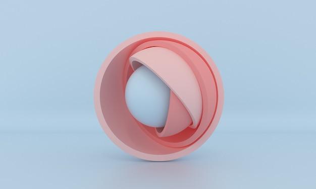 Минималистичный трехмерный дизайн-шар, спрятанный внутри пастельных розовых полушарий, открывающих слои абстрактные геометрические