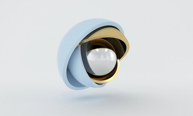 Минималистичный трехмерный дизайн, серебряный шар, спрятанный внутри пастельных полушарий, открывающих слои абстрактные геометрические