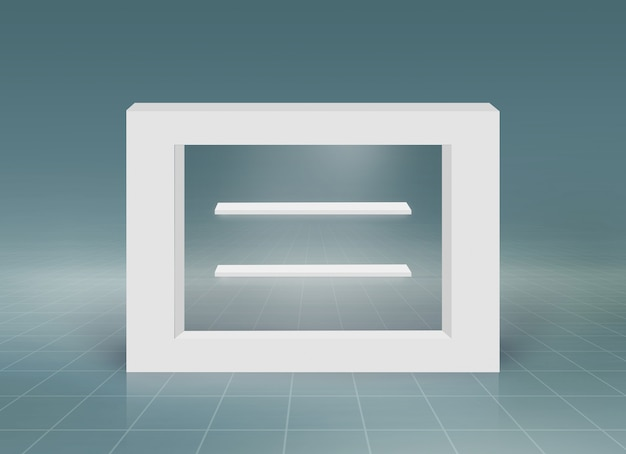 Minimal 3d rectangular frame with empty counter tops for product presentation