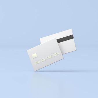 Минимальный 3d-рендеринг кредитной карты на синем фоне.