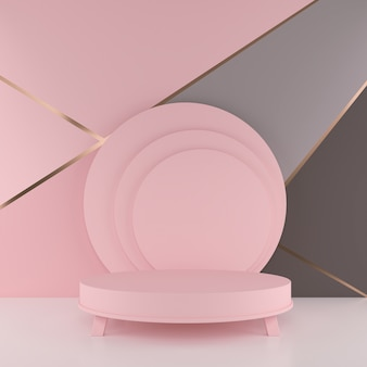 Minimal 3d rendering scene with podium. geometric shape in pastel colors.