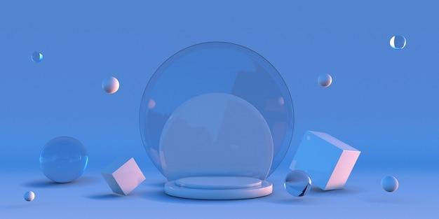 최소한의 3d 모양 겨울 파란색 연단 기하학적 형태가 있는 장면 빈 쇼케이스 받침대