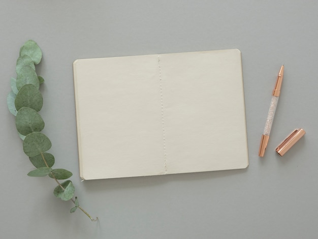 最小限のa4用紙モックアップ。コピースペース、ローズゴールドファッションペン、ユーカリの葉の空白の紙。上面図。