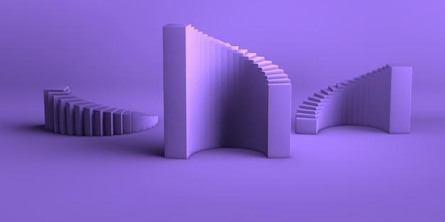 最小限の抽象的な背景3 dレンダリング抽象的な幾何学的形状グループセット紫紫