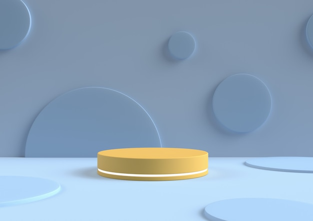 Minimal abstract background 3d rendering circle podium minimal geometric shape group