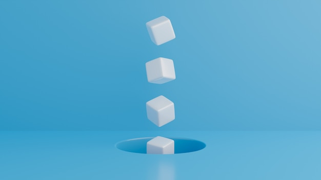 Minimal abstract background.cubes on blue background.white cubes that float out of holes..