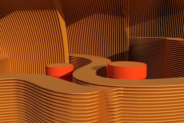 Минимальный абстрактный фон для презентации продукта. коричневая круглая форма геометрии. подиум макет ap для производства precentation 3d-рендеринга иллюстрации.
