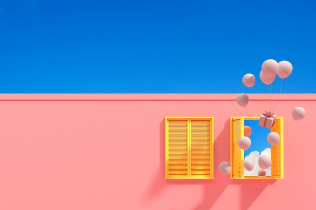 Minimal abstract building with yellow window and floating balloons on blue sky background, architectural design with shade and shadow on pink texture. 3d rendering.