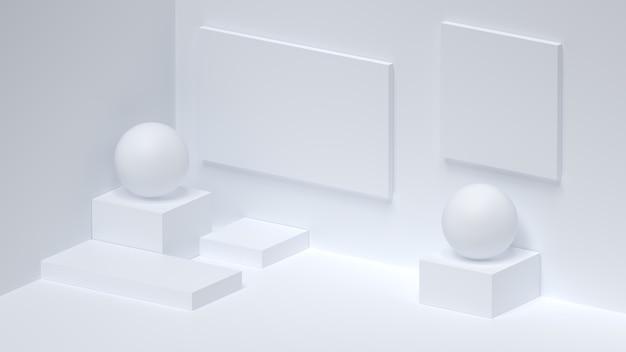 Minimal abstract composition background pedestal studio lighting place 3d render