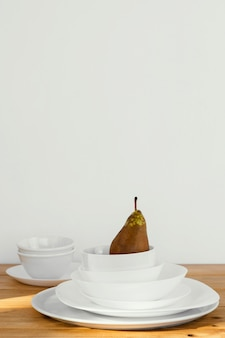 Minimal abstract concept pear in bowls
