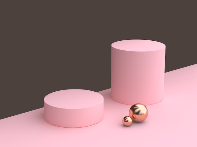 Minimal abstract cylinder shape white wood pink wall scene 3d rendering