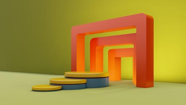 기하학적 모양과 단계와 최소한의 추상 전시 배경. 현재 제품 디자인을위한 최소한의 배경. 제품에 대한 연단 장면. 3d 렌더링