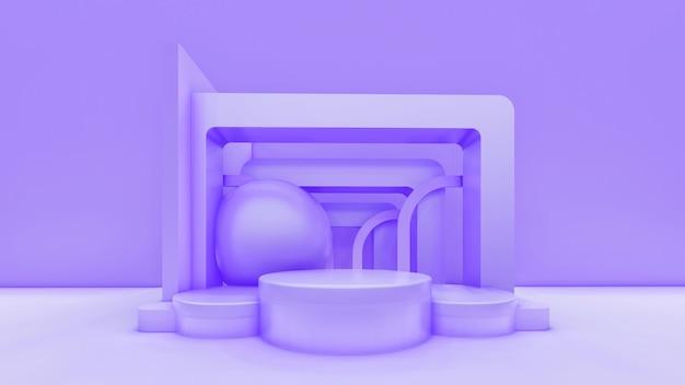 기하학적 모양과 단계와 최소한의 추상 전시 배경.