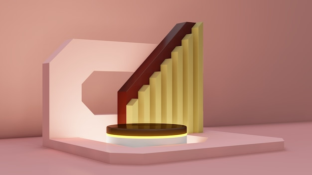 Minimal abstract exhibition background with geometric shapes and steps.