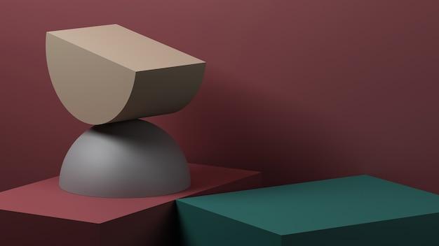 製品プレゼンテーションのための最小限の抽象的な幾何学的背景。 3dレンダリングのイラスト。