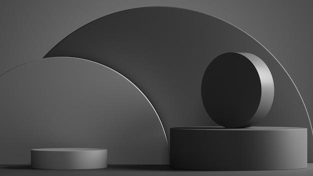 製品presentation3dレンダリングのための最小限の抽象的な幾何学的な黒灰色の背景