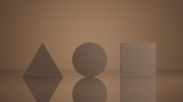 製品プレゼンテーションの3dレンダリングのための最小限の抽象的な幾何学的な茶色の背景