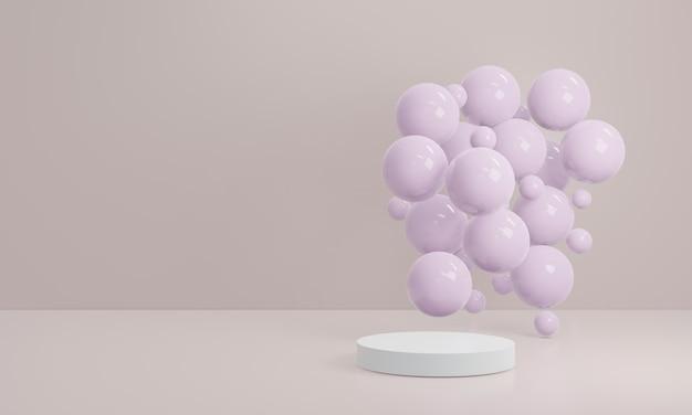 최소한의 추상 기하학 모양 배경입니다. 화장품 또는 다른 제품, 3d 렌더링을위한 흰색 연단 미니멀리스트 모형 장면