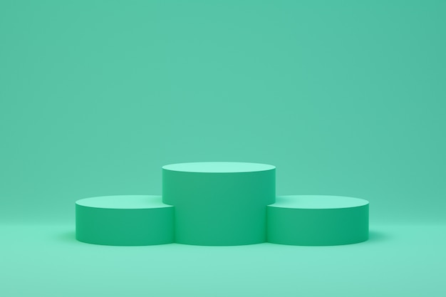 Minimal abstract green podium for product presentation