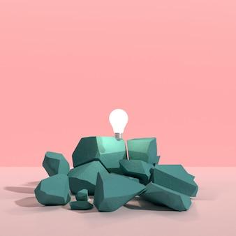 色背景の3 dレンダリングにひびの入った岩の上の浮遊電球の最小限の抽象。