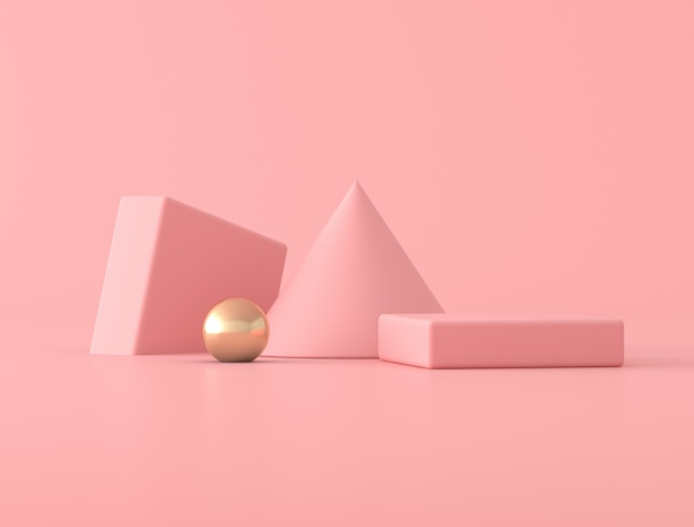 Minimal abstract scene with geometry object, gold sphere on pink background. 3d rendering.