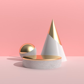 Minimal abstract scene with geometry object and round podium, gold texture on pink wall, architectural design with shade and shadow . 3d rendering.