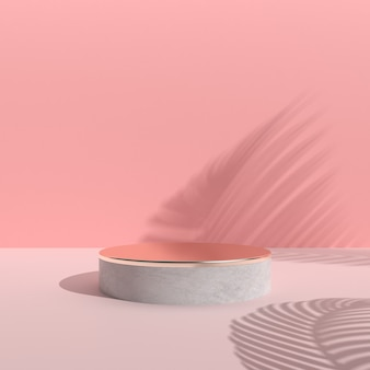 Minimal abstract scene with round podium, gold and concrete texture on pink background, architectural design with nature shadow. 3d rendering.