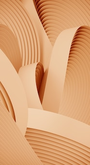 Minimal abstract shape for product presentation. cream color circular geometry shape. 3d rendering illustration.