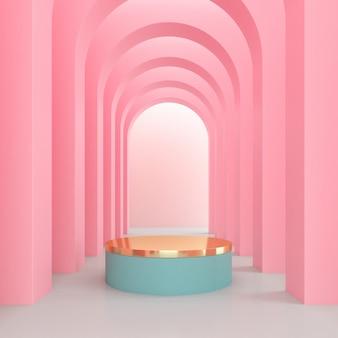 Минимальное пространство арки с золотым подиумом