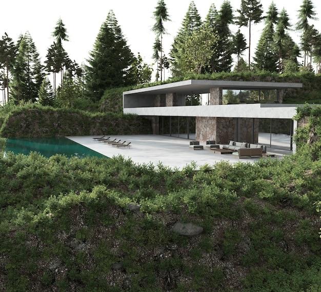 最小限のアーキテクチャ設計。サンラウンジャー付きの家とプール