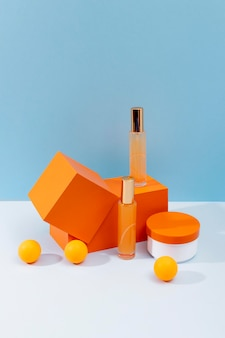 Minimal arrangement of beauty products