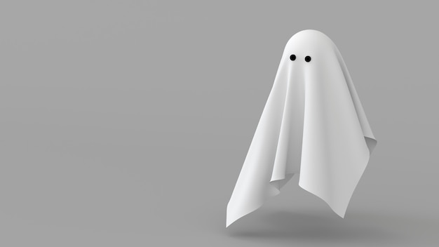 Minimal background abstract ghost sheet fabric white spirit 3d render