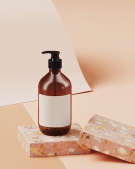ブランディングと製品プレゼンテーションの最小限の背景。テラゾー表彰台、ヌードカラー紙ロールの背景に化粧品ボトル。 3 dレンダリング図。