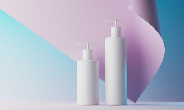 化粧品のブランディングとパッケージングのプレゼンテーションの最小限の背景。ステージパステルカラー。 3dイラスト。
